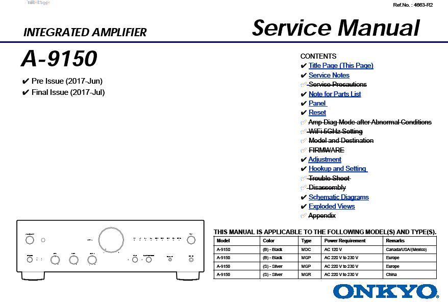 Onkyo A-9150 Service Manual