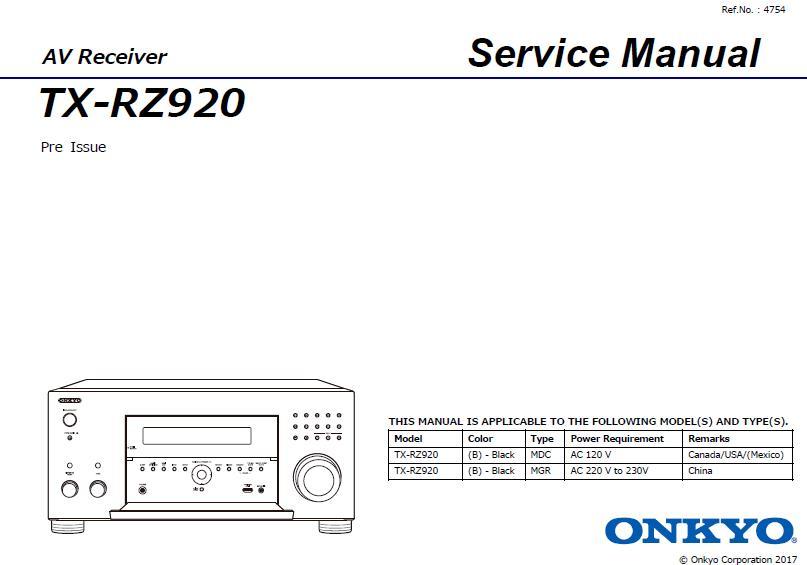 Onkyo TX-RZ920 Service Manual