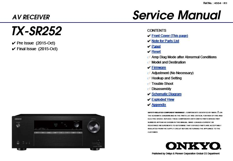 Onkyo TX-SR252 Service Manual :: Receivers, Amplifiers, Tuners
