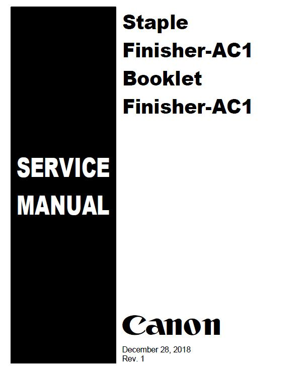 Canon Staple Finisher-AC1 Booklet/Finisher-AC1 Service Manual