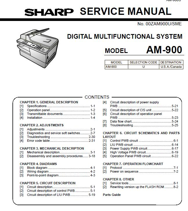 Sharp AM-900 Service Manual