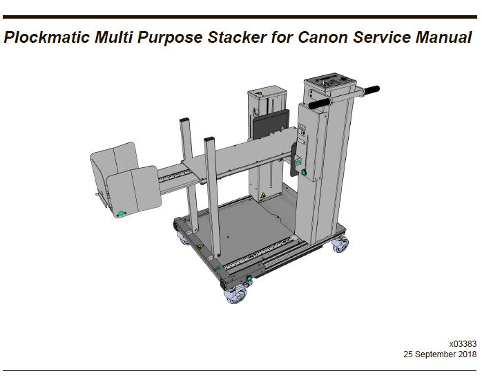 Plockmatic Multi Purpose Stacker for Canon Service Manual