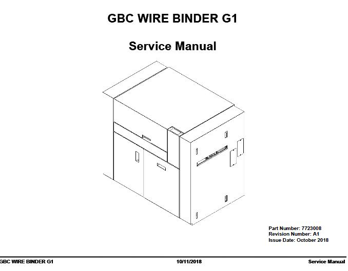 GBC WIRE BINDER G1 Service Manual