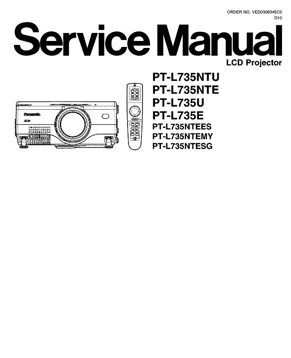 Panasonic PT-L735U/E/N Service Manual