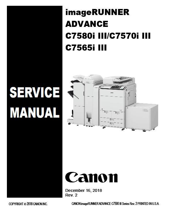 Canon imageRUNNER ADVANCE C7565i III/C7570i III/C7580i III Service Manual