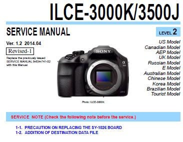 Sony ILCE-3000K/3500JH Service Manual
