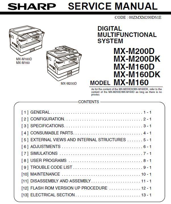 Sharp MX-M160/MX-M160D/MX-M160DK/MX-M200D/MX-M200DK Service Manual