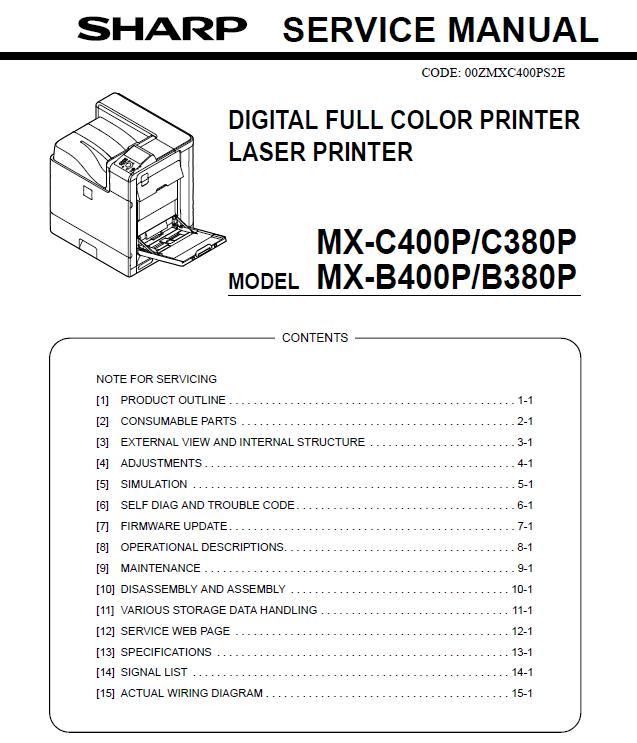 Sharp MX-B380P/MX-B400P/MX-C380P/MX-C400P Service Manual