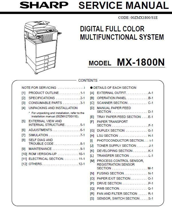 Sharp MX-1800N Service Manual