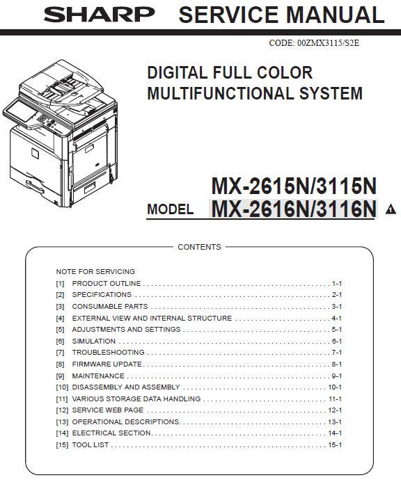 Sharp MX-2615N/MX-2616N/MX-3115N/MX-3116N Service Manual