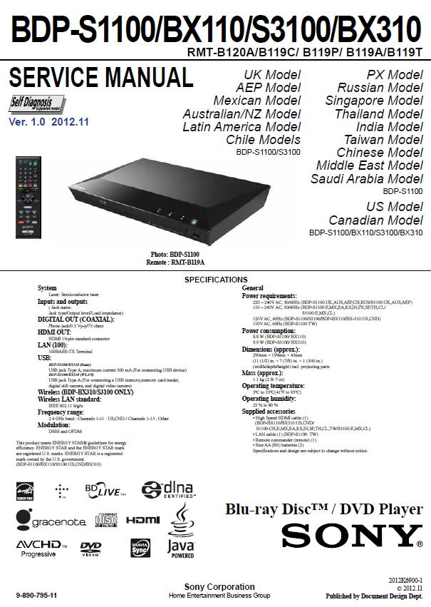 Sony BDP-S1100/BX110/S3100/BX310 Service Manual