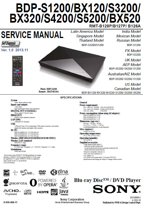Sony BDP-BX120/BX320/BX520/S1200/S3200/S4200/S5200 Service Manual