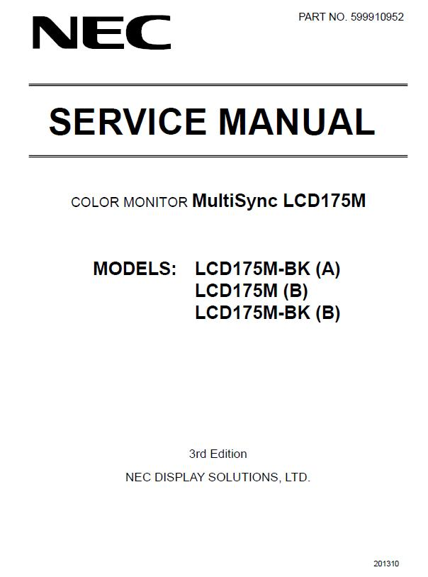 NEC MultiSync LCD175M Service Manual