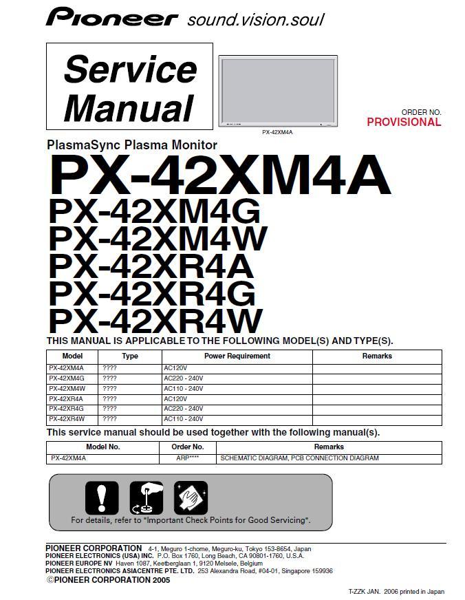 Pioneer PX-42XM4/PX-42XR4A/G/W Service Manual