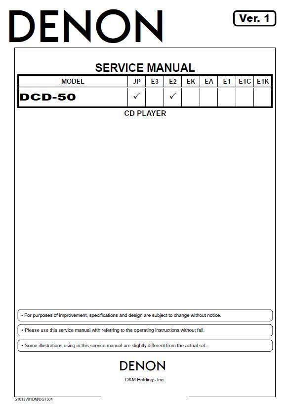 Denon DCD-50 Service Manual
