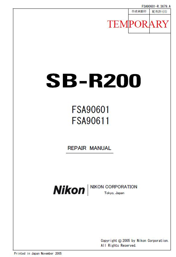 Nikon SB-R200 Service Manual