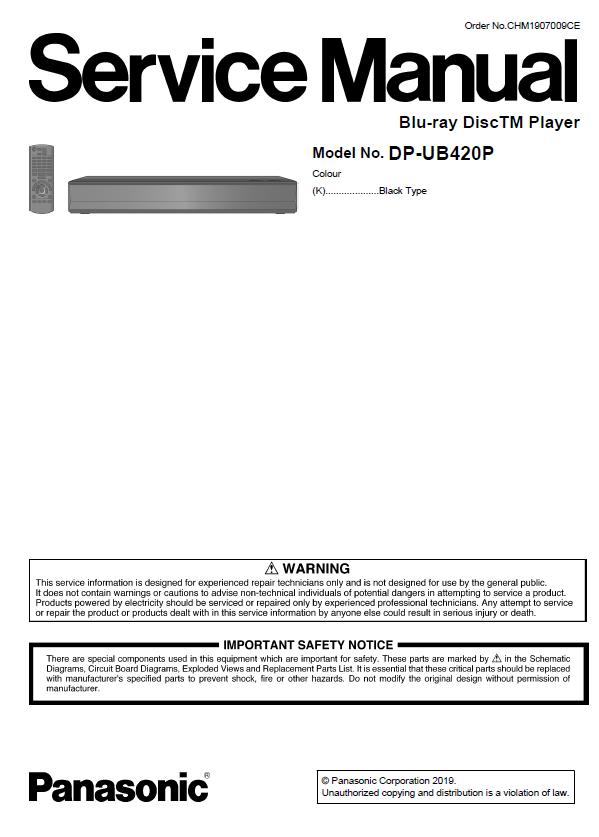 Panasonic DP-UB420P Service Manual