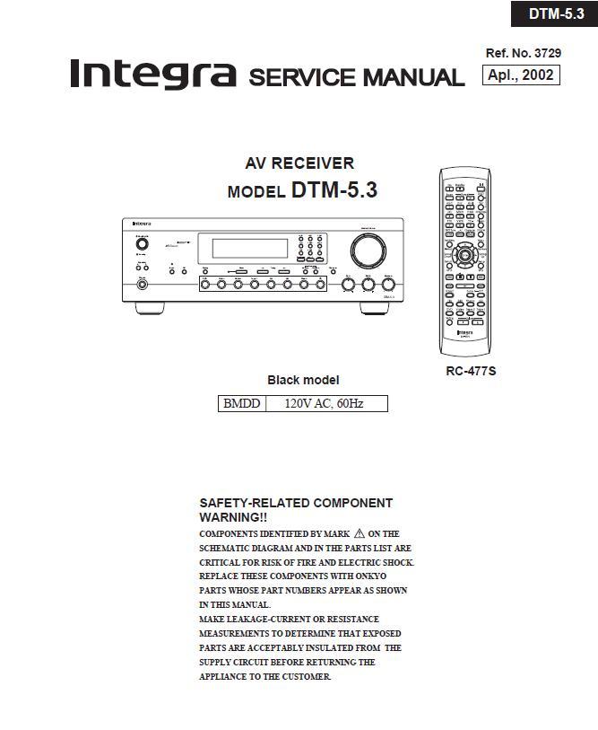 Integra DTM-5.3 Service Manual