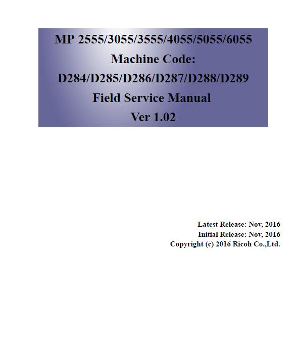 Ricoh MP 2555SP/MP 3055SP/MP 3555SP/MP 4055SP/MP 5055SP/MP 6055SP Service Manual