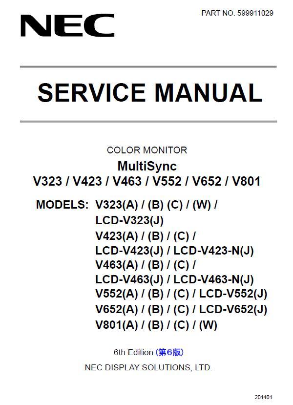 NEC MultiSync V323/V423/V463/V552/V652/V801 Service Manual