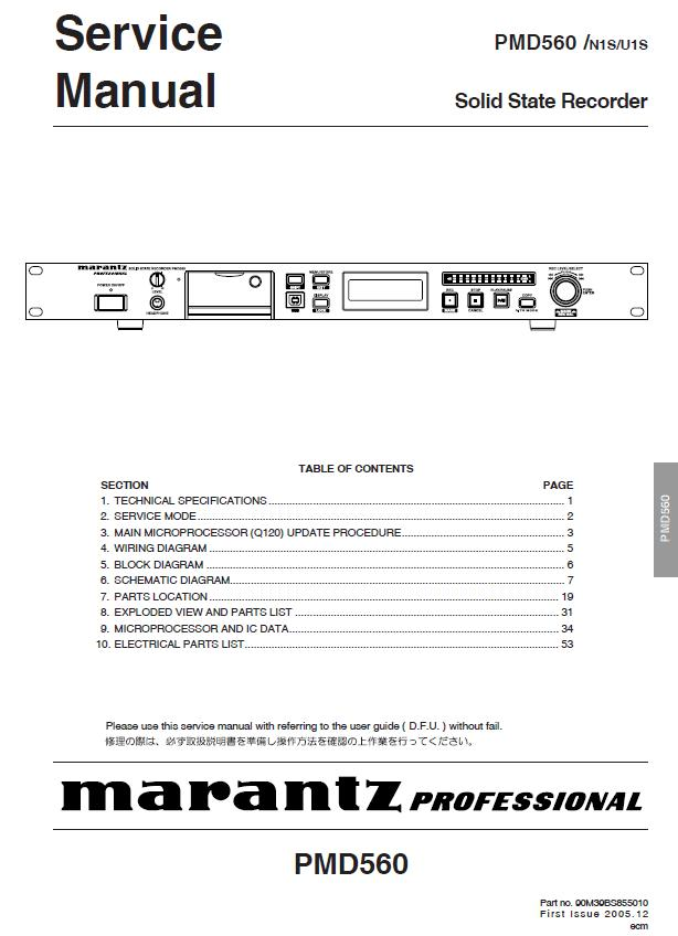 Marantz PMD560 Service Manual