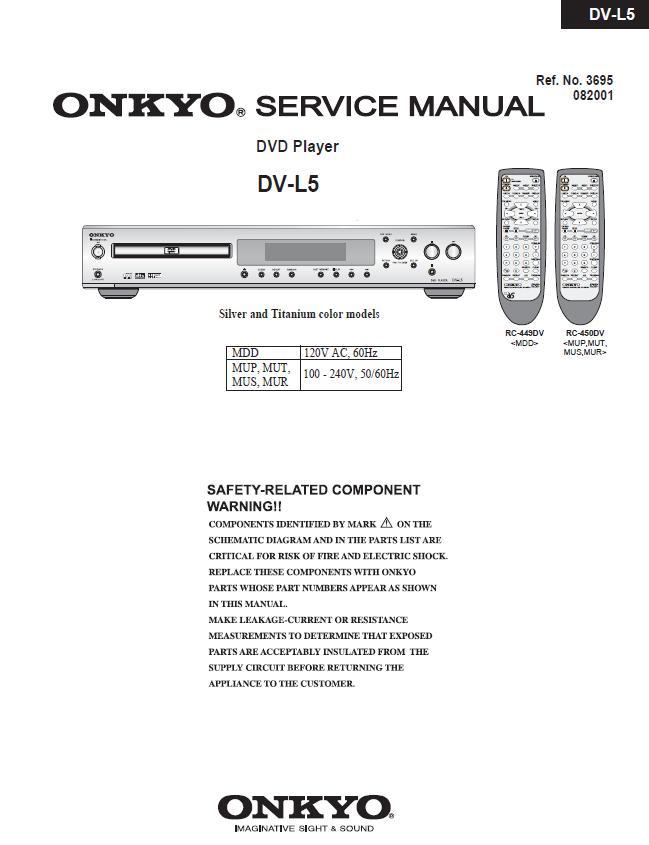 Onkyo DV-L5 Service Manual