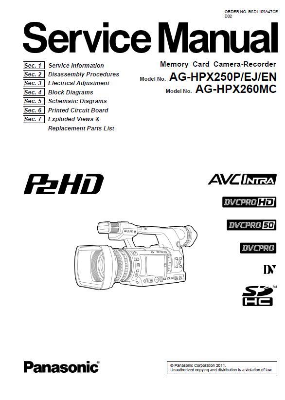 Panasonic AG-HPX250P/EJ/EN/AG-HPX260MC Service Manual