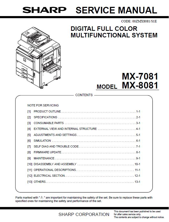 Sharp MX-7081/MX-8081 Service Manual