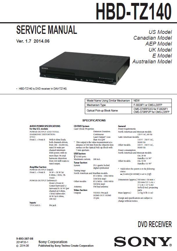 Sony HBD-TZ140 Service Manual