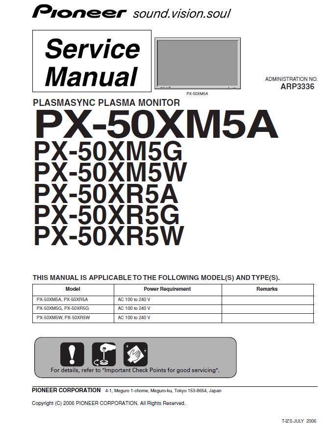 Pioneer PX-50XM5/PX-50XR5A/G/W Service Manual