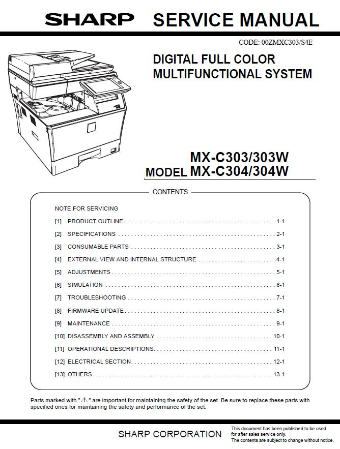 Sharp MX-C303/MX-C304 Service Manual