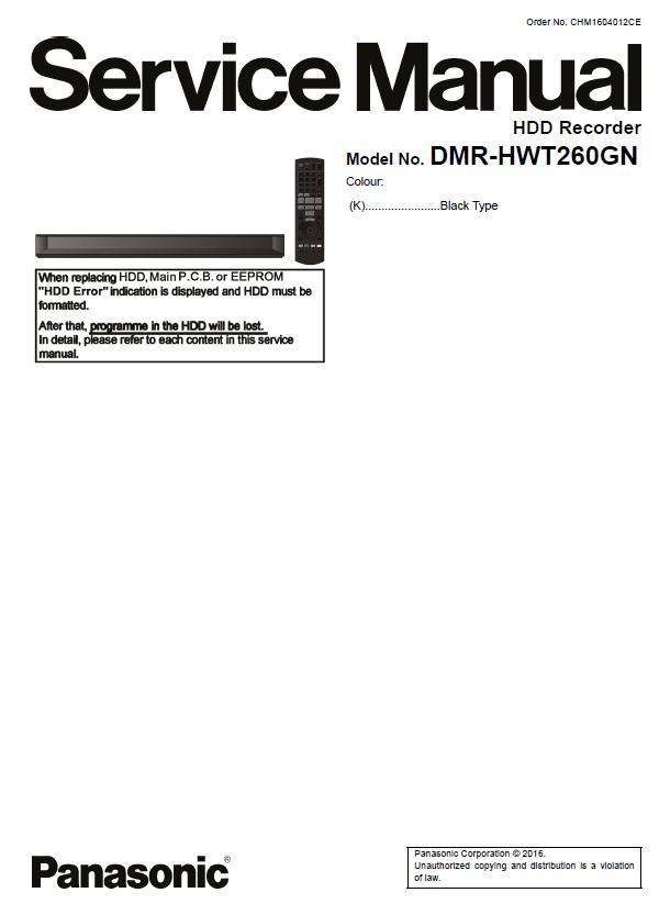 Panasonic DMR-HWT260GN Service Manual