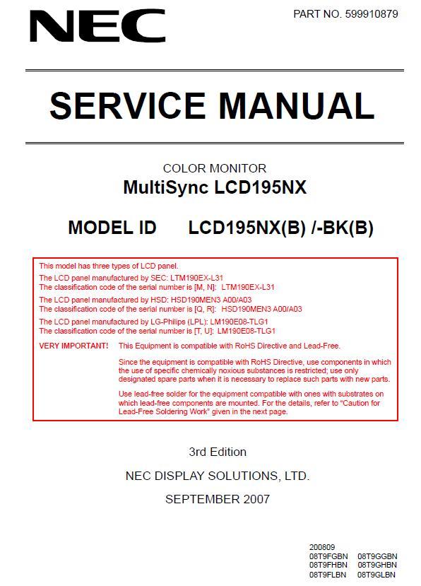 NEC MultiSync LCD195NX Service Manual