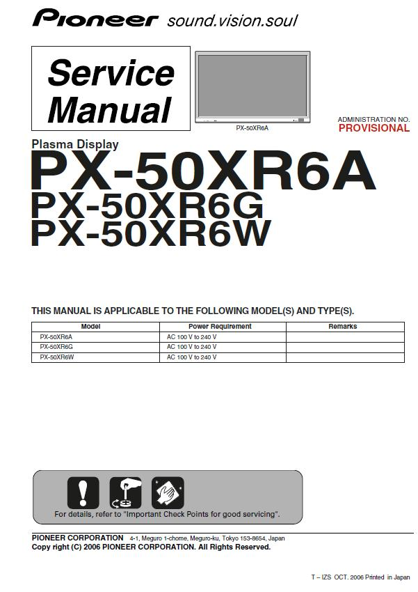 Pioneer PX-50XR6A/G/W Service Manual