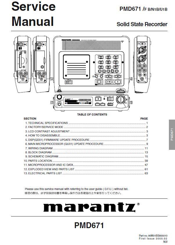 Marantz PMD671 Service Manual