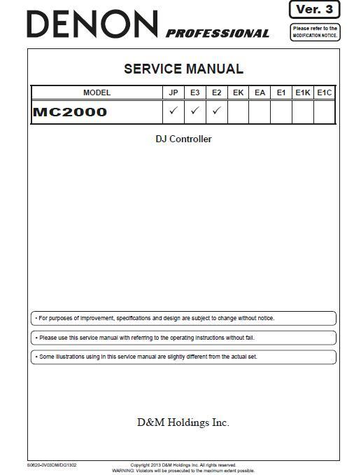 Denon MC2000 Service Manual