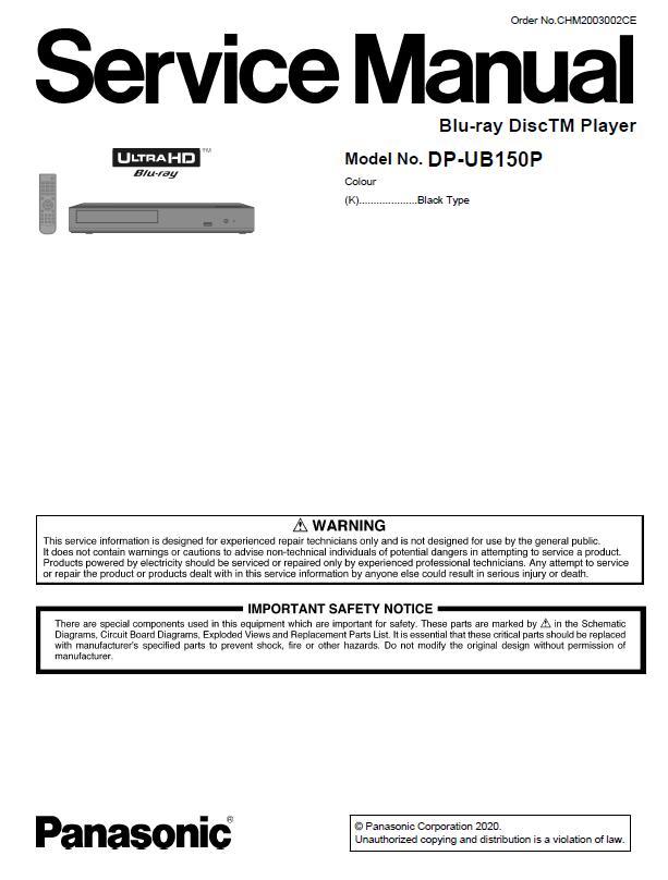 Panasonic DP-UB150P Service Manual