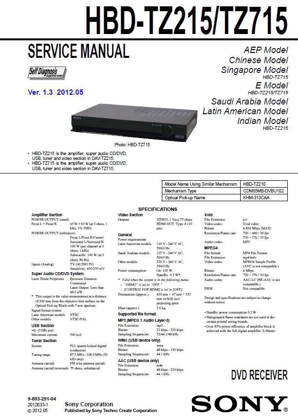 Sony HBD-TZ215/TZ715 Service Manual