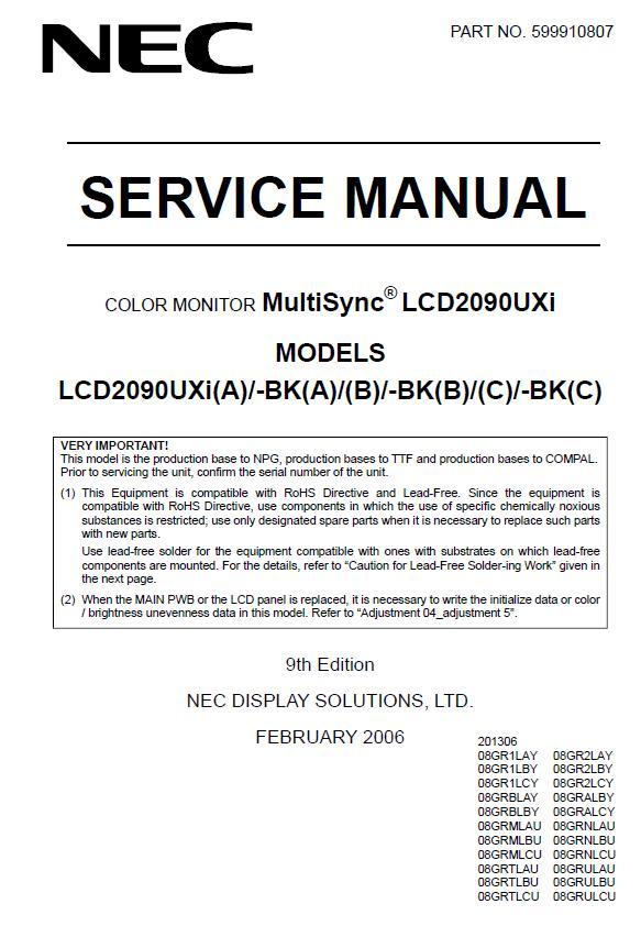 NEC MultiSync LCD2090UXi Service Manual