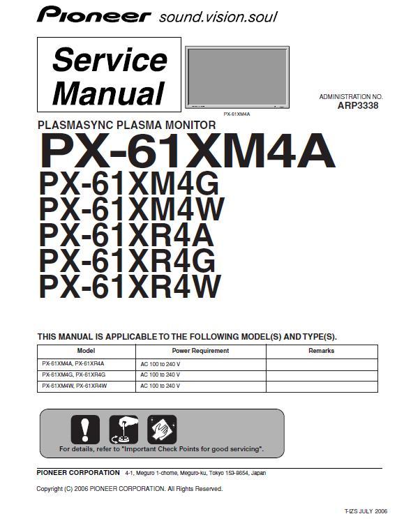 Pioneer PX-61XM4/PX-61XR4A/G/W Service Manual