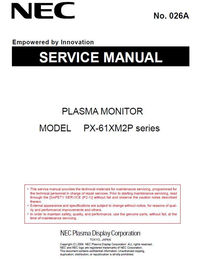 NEC PX-61XM2P Service Manual