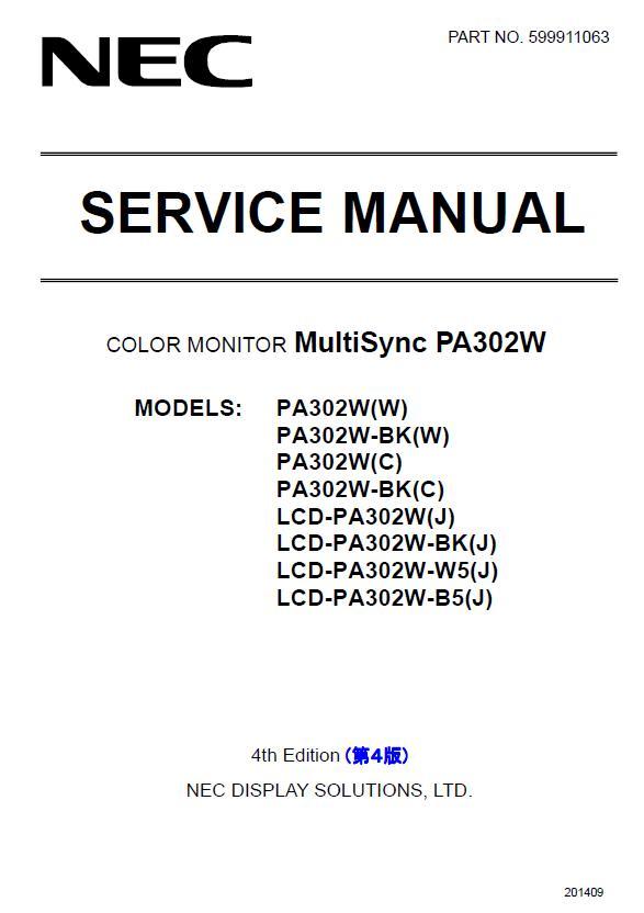 NEC MultiSync PA302W Service Manual