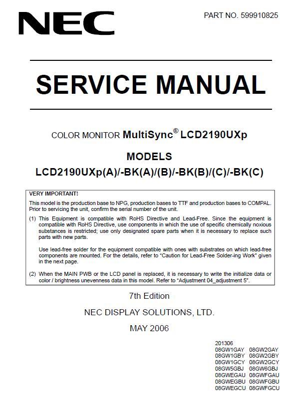 NEC MultiSync LCD2190UXp Service Manual