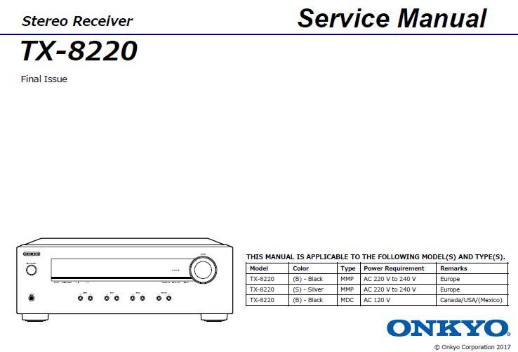 Onkyo TX-8220 Service Manual