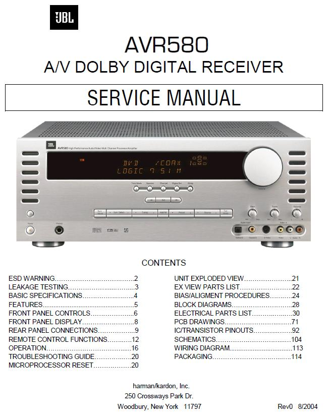 JBL AVR580 Service Manual