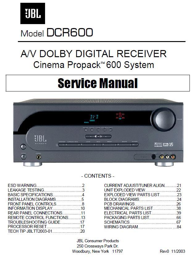 JBL DCR600/DCR600II Service Manual