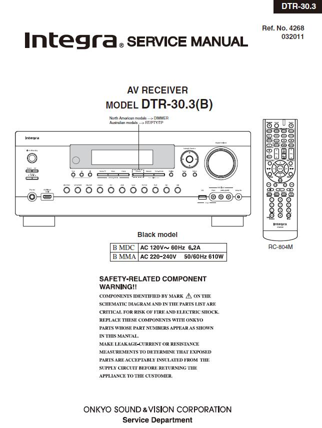 Integra DTR-30.3 Service Manual