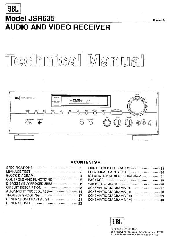 JBL JSR635 Service Manual