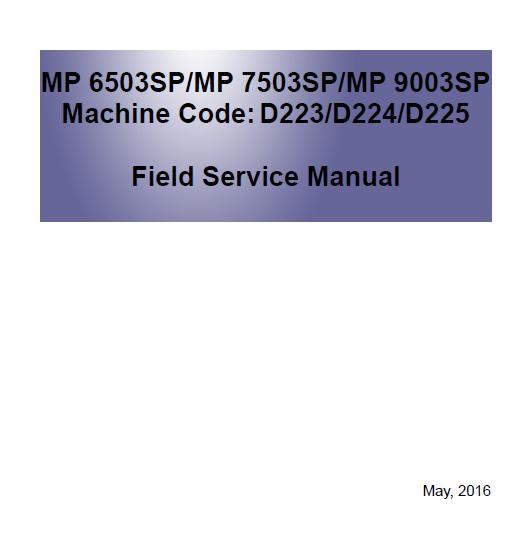 Ricoh MP 6503SP/MP 7503SP/MP 9003SP Service Manual