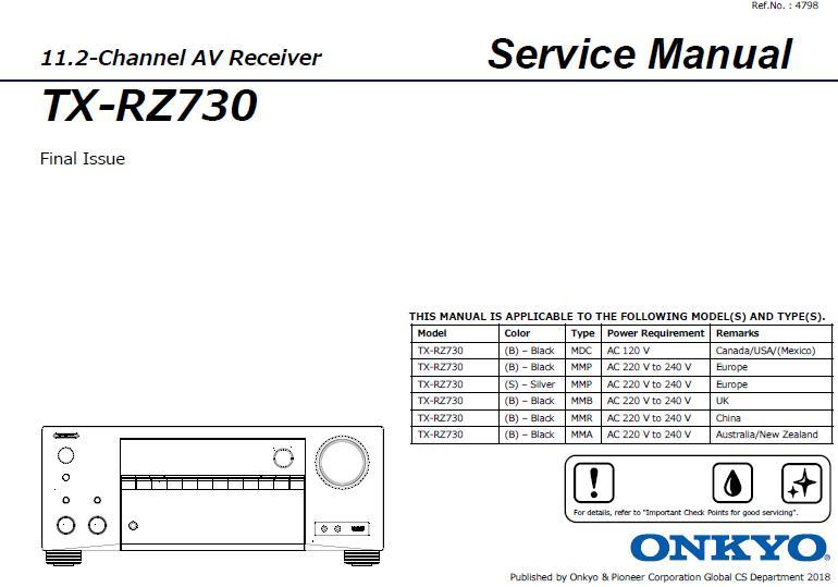 Onkyo TX-RZ730 Service Manual